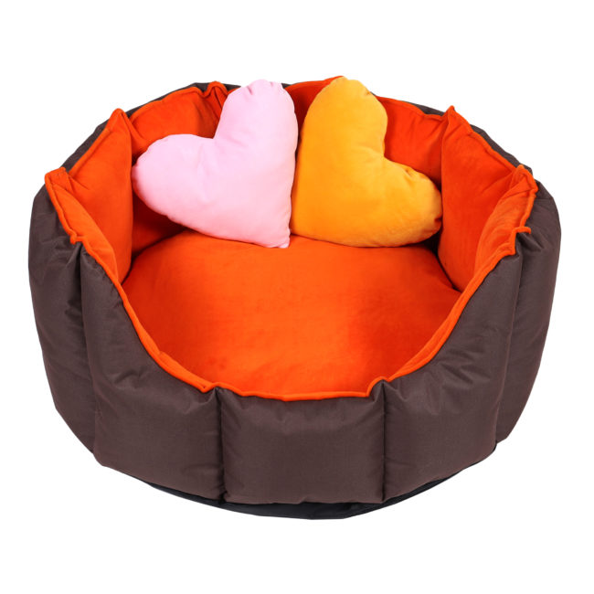 Dog Bed Ultra Soft ,2 Extra Heart Shape Pillow (Orange & Brown)