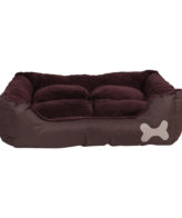 Dog Bed in Brown color for Pet Warm Basket Cushion with Fur