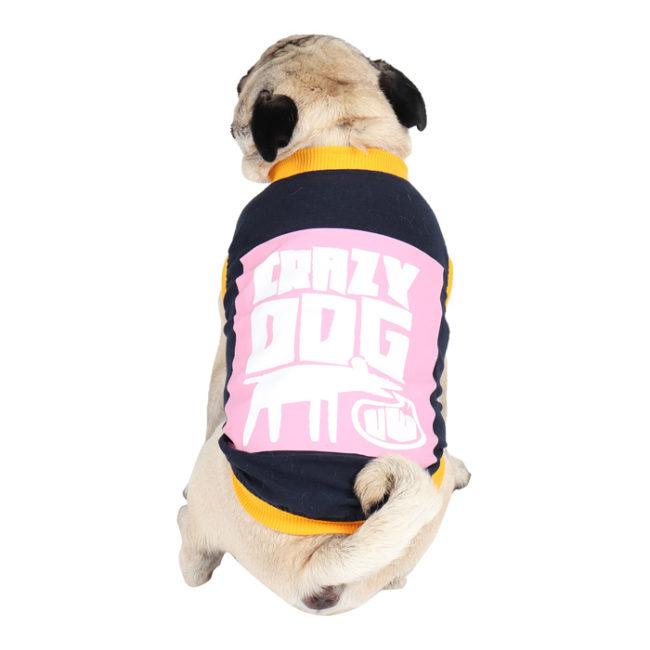Dog Clothes (crazy dog printed navy blue colour cotton summer T-Shirt)