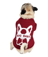 Dog TShirt dogbaby printed mehroon colour cotton