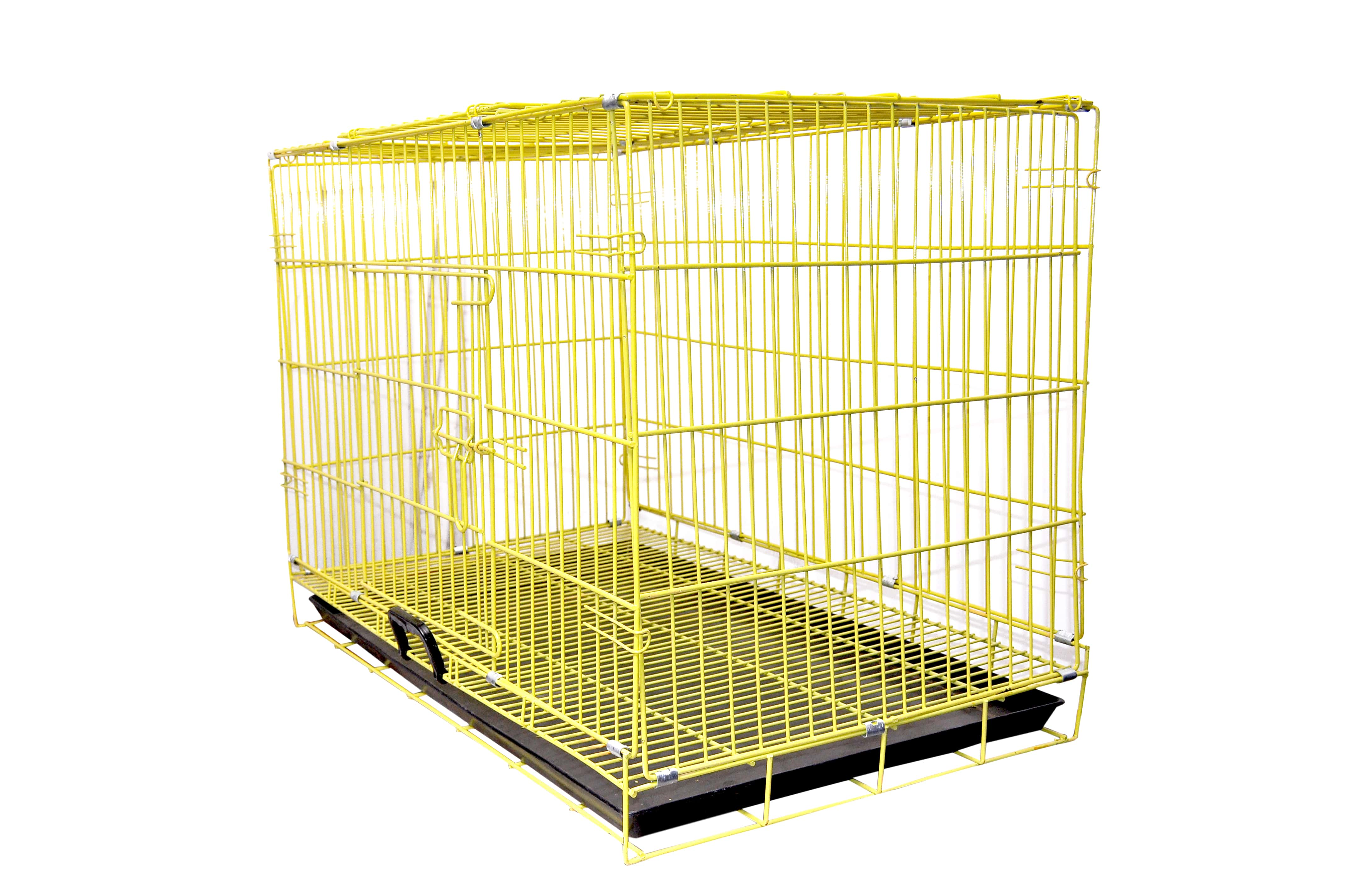DOUGE COUTUTE Powder Coated Iron Cage with Removable Tray for Dog (Yellow, 36 Inch, Large)