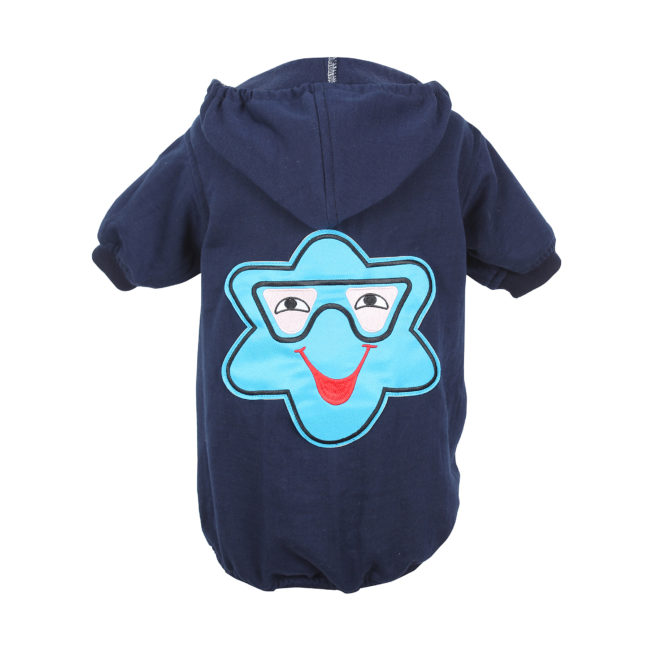 DOUGE COUTURE WINTER STYLISH PATCH HOODIE NAVY BLUE TEES