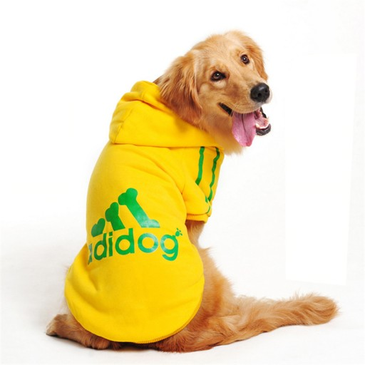 douge couture adidog dog hoodies dog clothes yellow