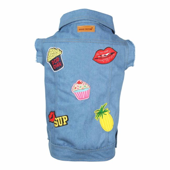 DOUGE COUTURE DOG COOL JEANS JACKT WITH STYLISH PATCH