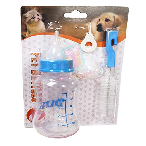 Douge couture Pet Nursing Kit Milk Bottle 150 ml with Extra Nipple, Bottle Cleaner & Hole Pin- Color