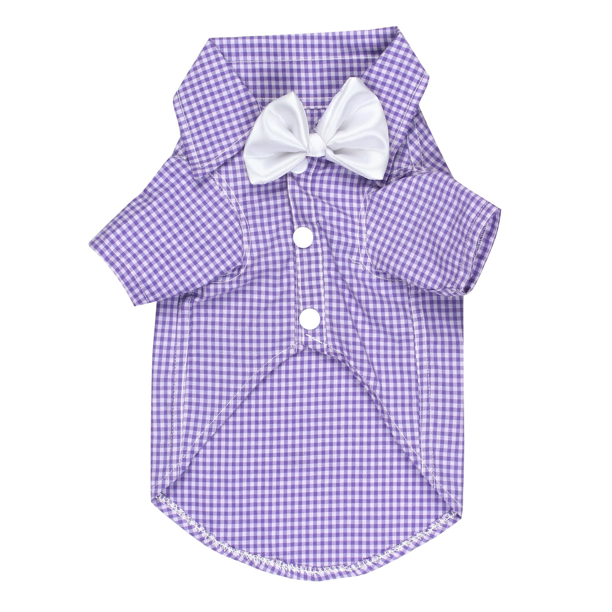 Douge Couture PURPLE WHITE stylish check shirt with white bow