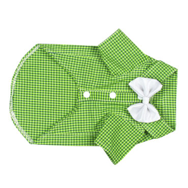 Douge Coutre brifht Green color check with white smart bow 2