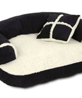 Dog Bed Soft Sofa Bed, Off-White/Black