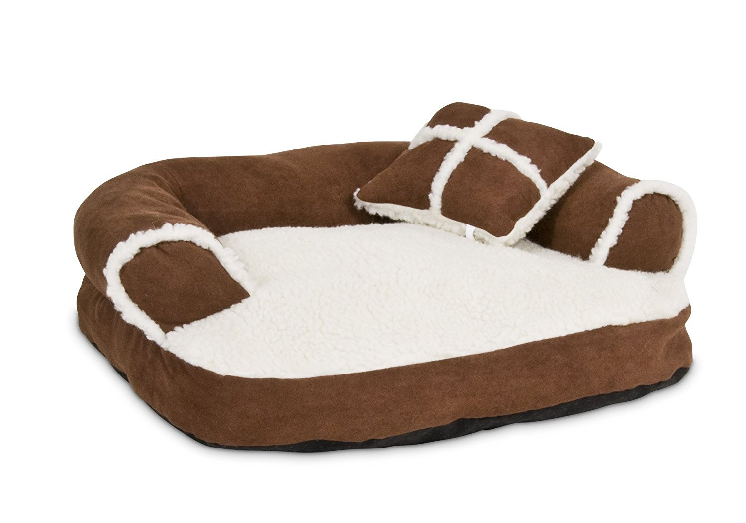 Dog Bed Soft Sofa, Off-White/brown