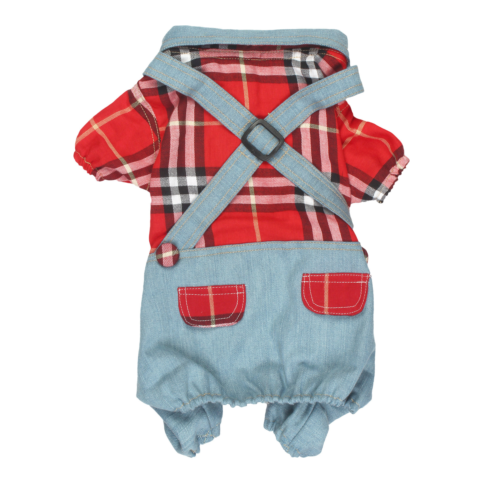 douge couture cool Outfits Red Plaid Shirts Overalls Pants Pet Clothes