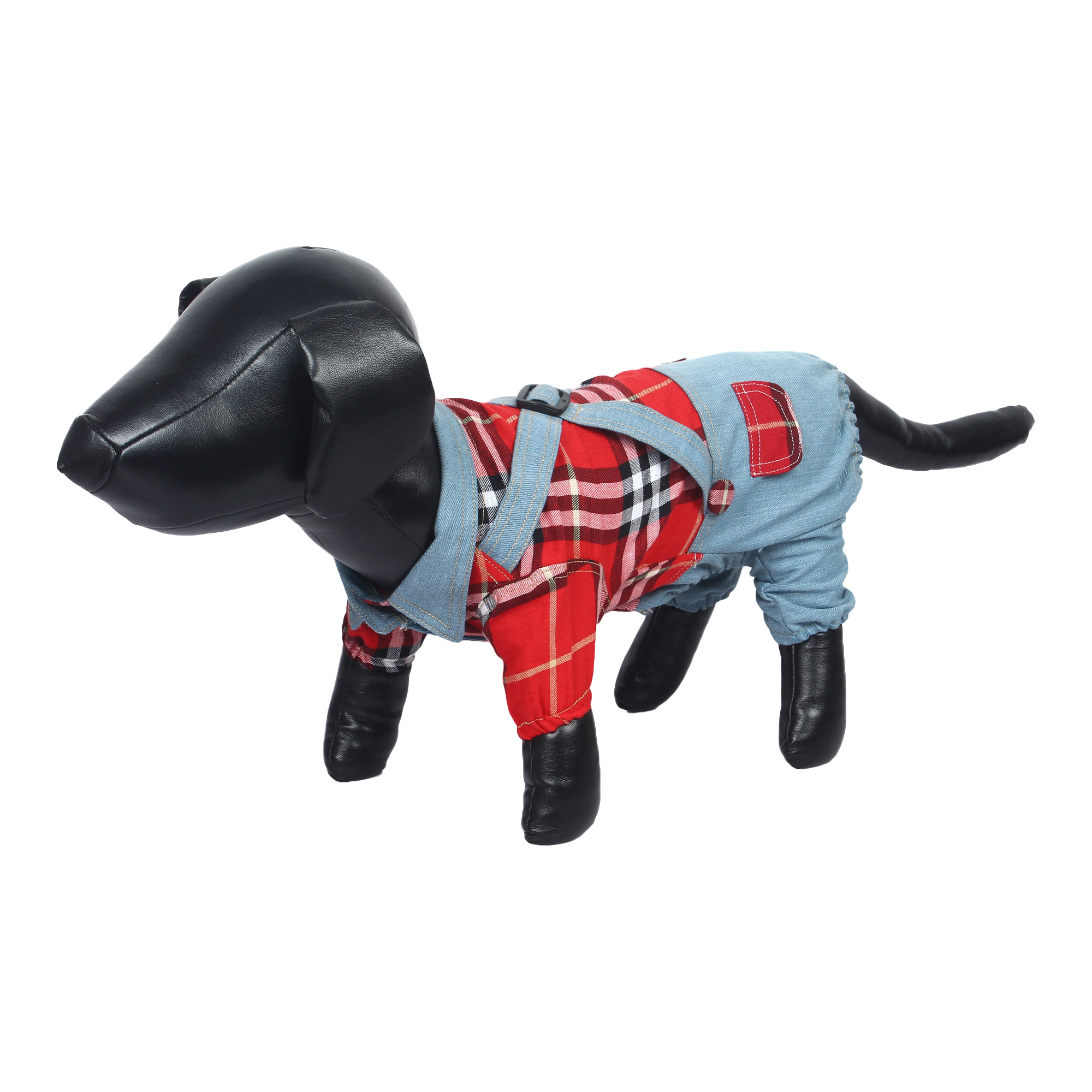 douge couture cool Outfits Red Plaid Shirts Overalls Pants Pet Clothes 2