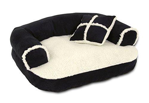 Dog Bed Soft Sofa Bed, Off-White/Black