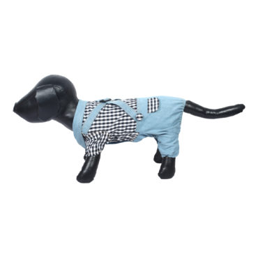 Dog Clothes cool Outfits black Plaid Shirts Overalls Pants