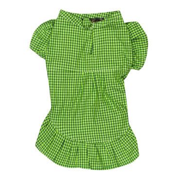 Dog Clothes smart green check dress