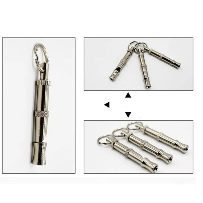 Pet Stainless Steel Dog Puppy Whistle Portable & Adjustable Sound Key Dog Training Whistle