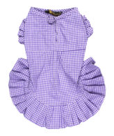 Dog Clothes smart purple check dress