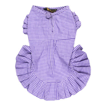 Dog Clothes smart purple check dress