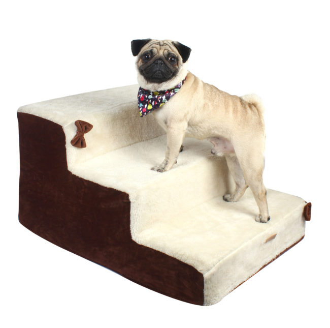 Dog stairs 3 Steps Ramp Ladder off white and brown color
