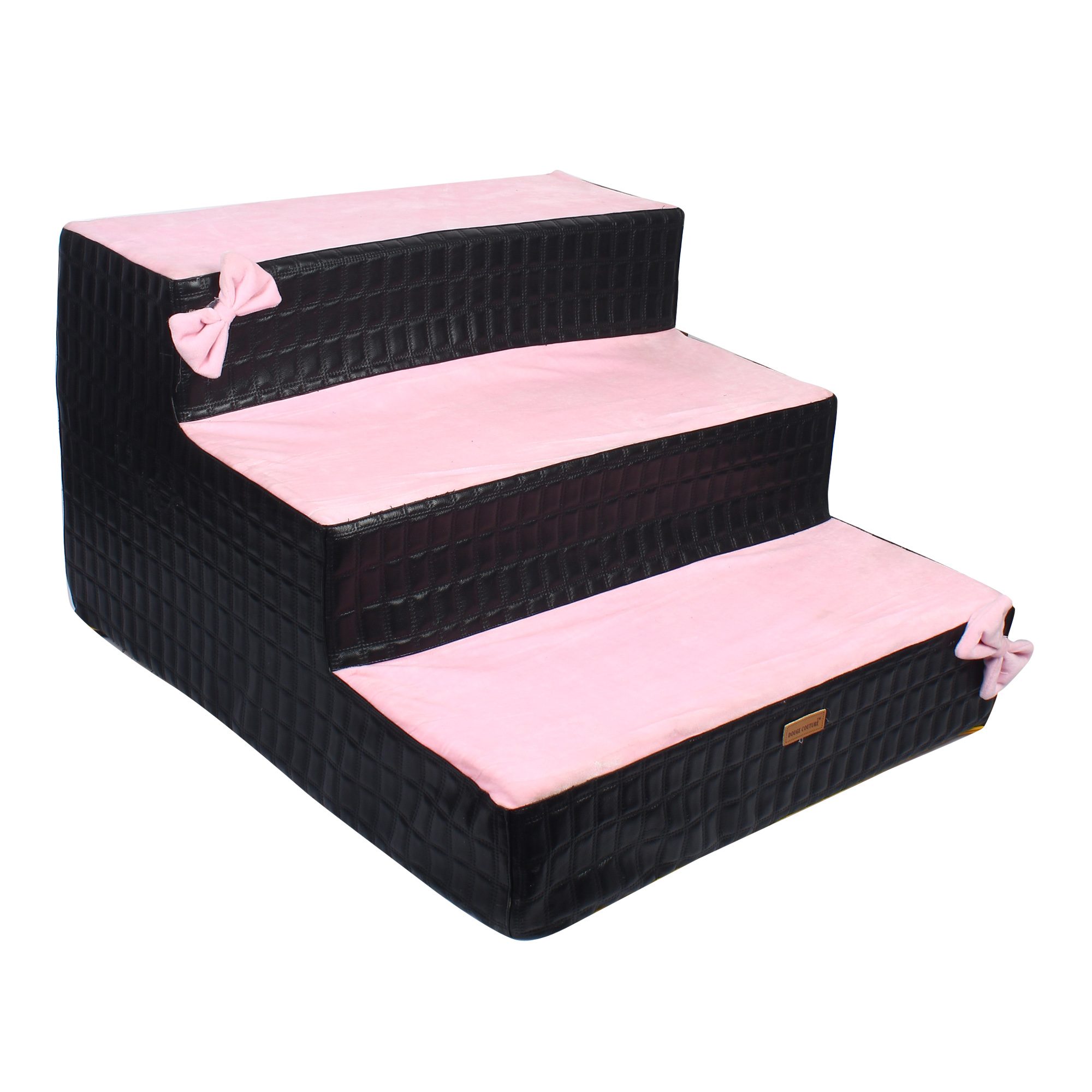 Douge Couture dog/cat stairs/ladder3 Steps Ramp Ladder black& pink