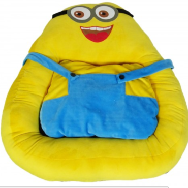 Douge Couture Fluffy Minion Cartoon Bed, Yellow/Blue 1