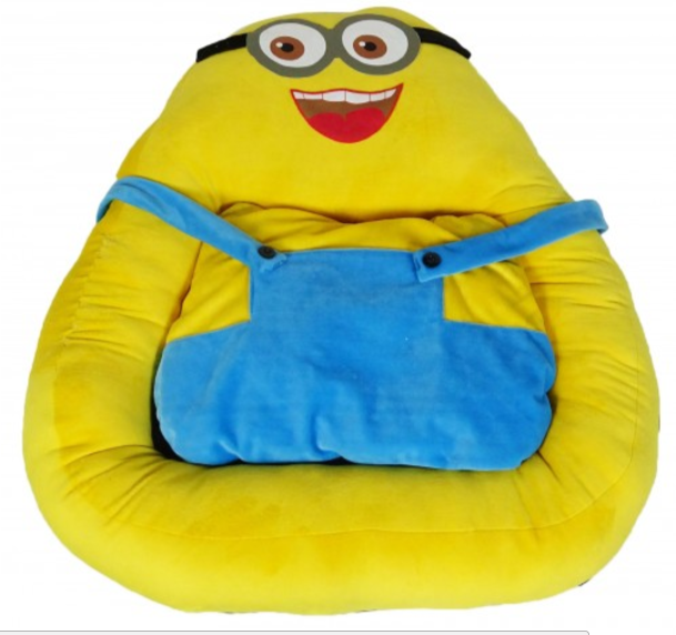 Dog Bed Fluffy Minion Cartoon Bed, Yellow/Blue