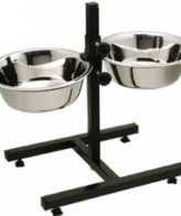 DOUGE COUTURE Stainless Steel Double Diner Food Bowl Stand for Dog (Large)