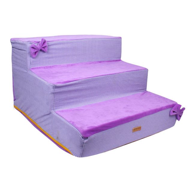Douge Couture dog/cat stairs/ladder3 Steps Ramp Ladder purple check