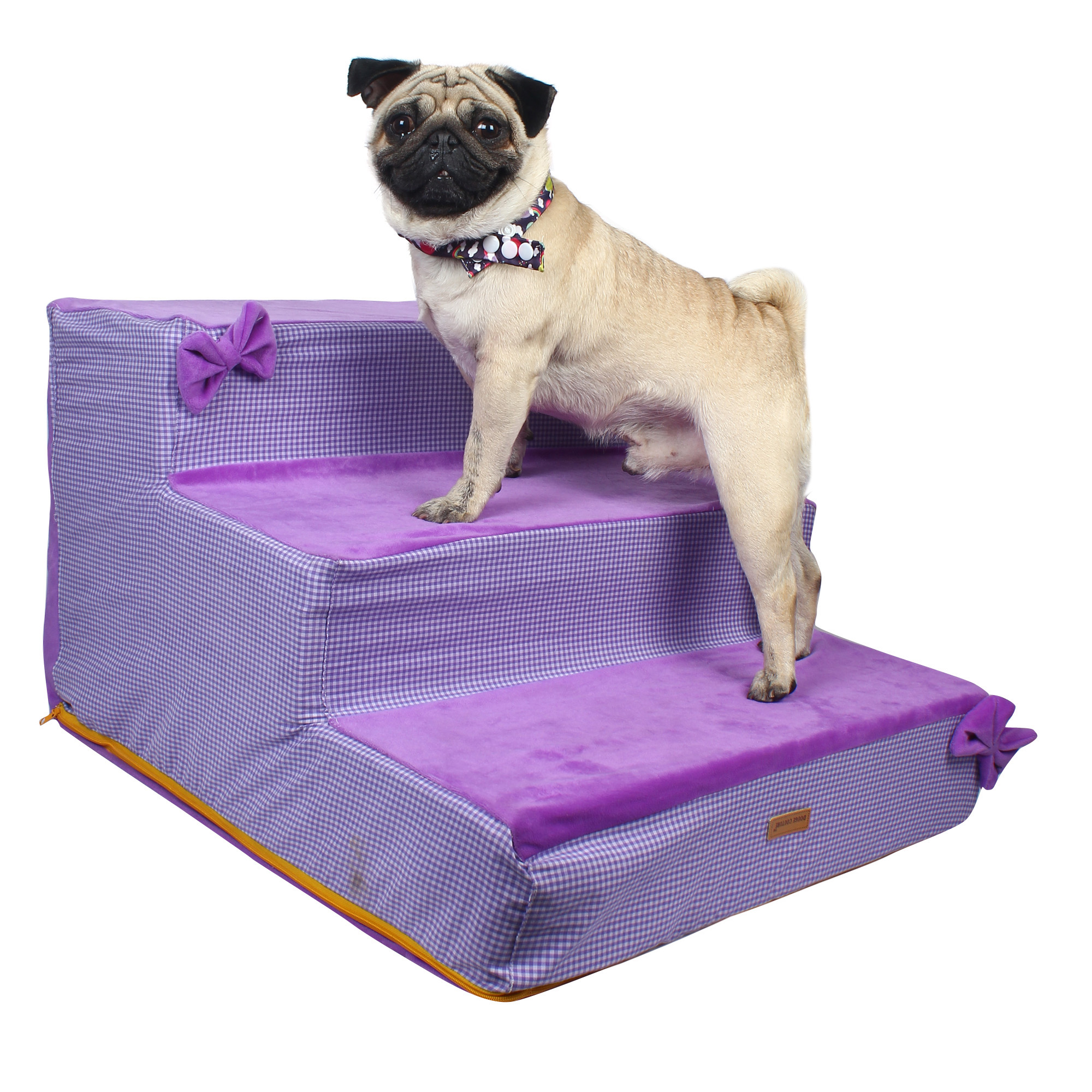 Dog stairs Steps Ramp Ladder purple check