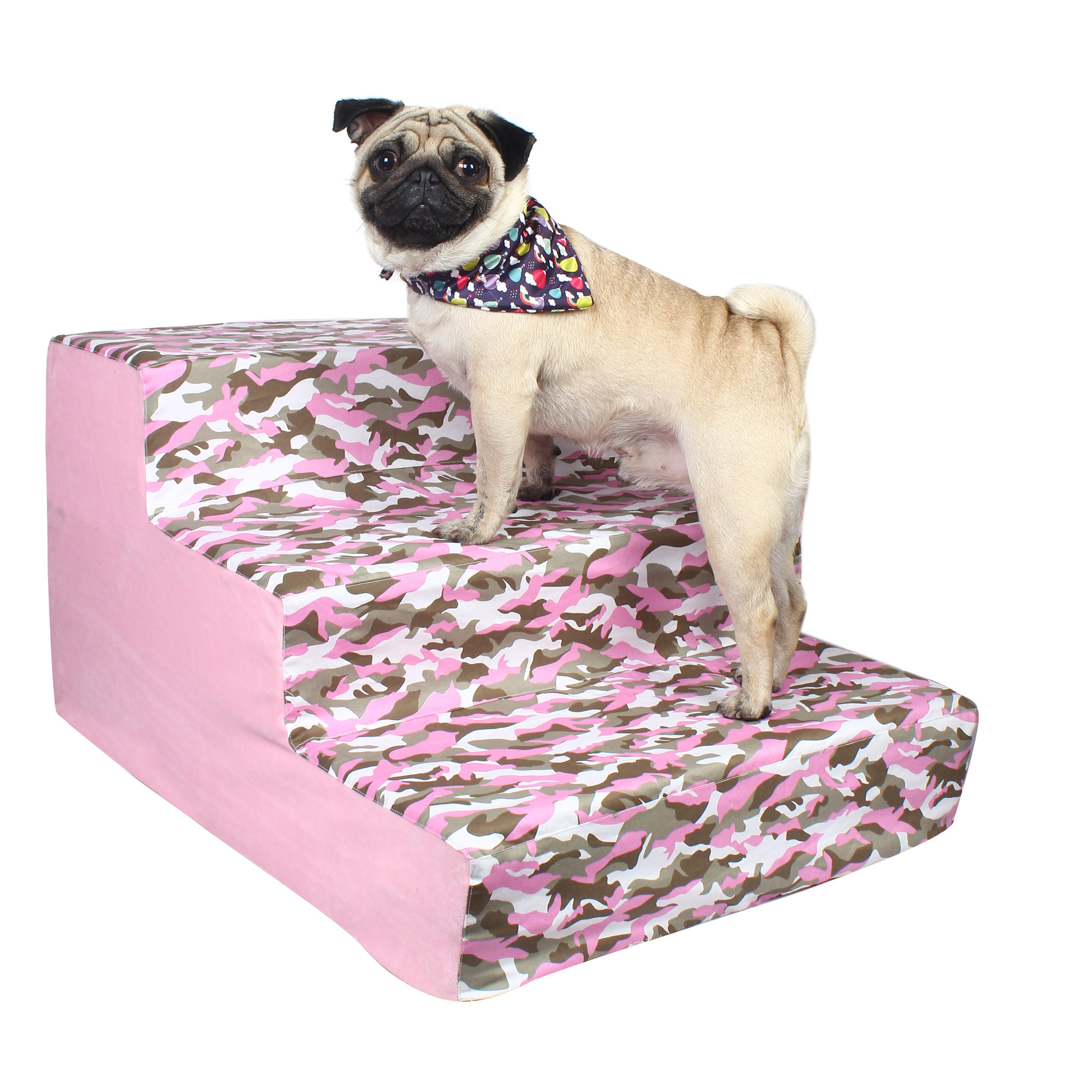 Dog stairs 3 Steps Ramp Ladder pink army print