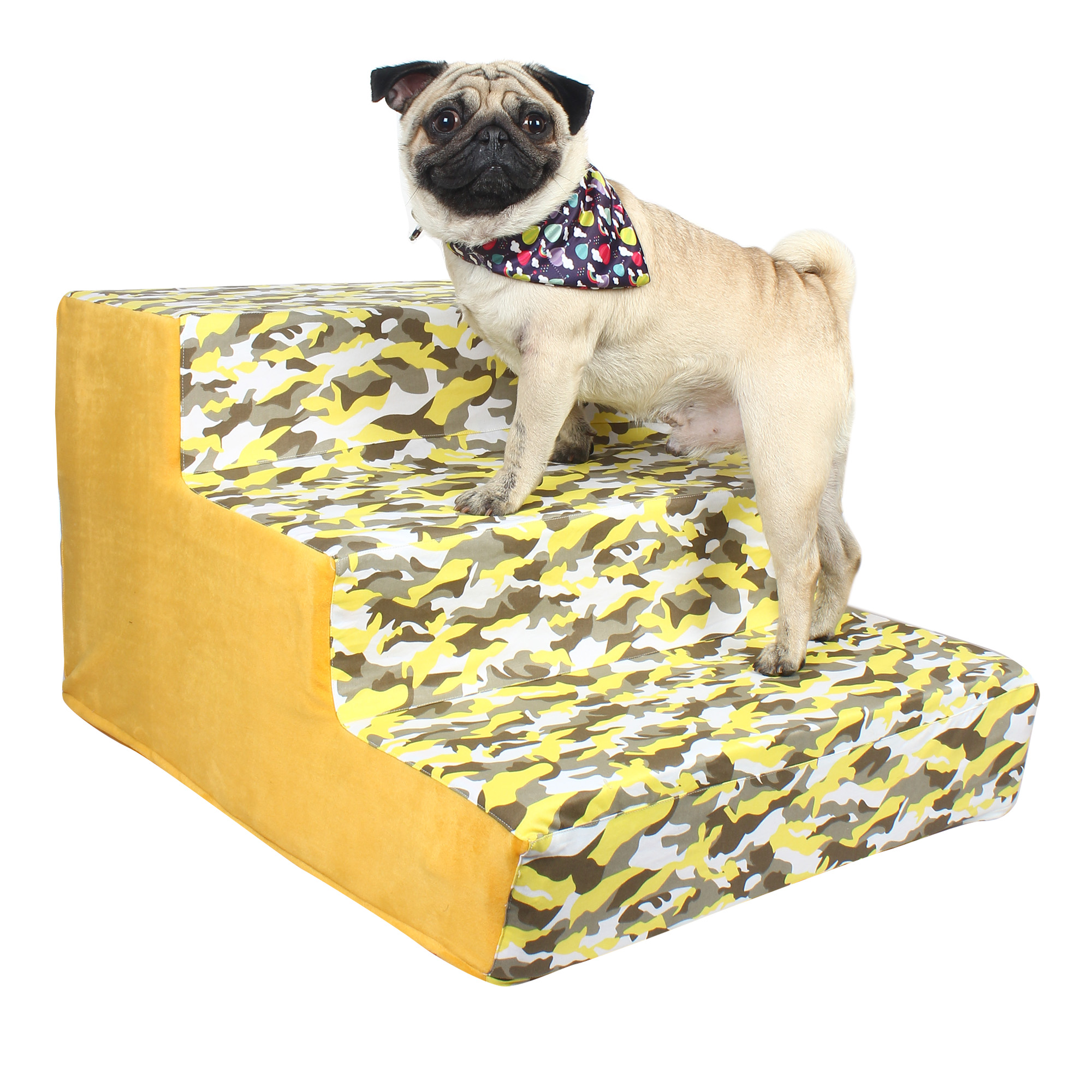 Dog stairs 3 Steps Ramp Ladder yellow army print