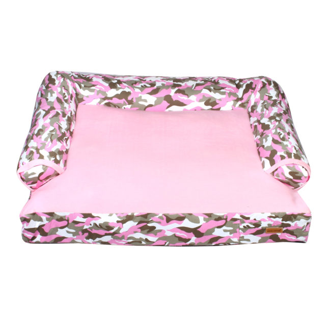 Douge couture dog/cat sofa bed army pink print
