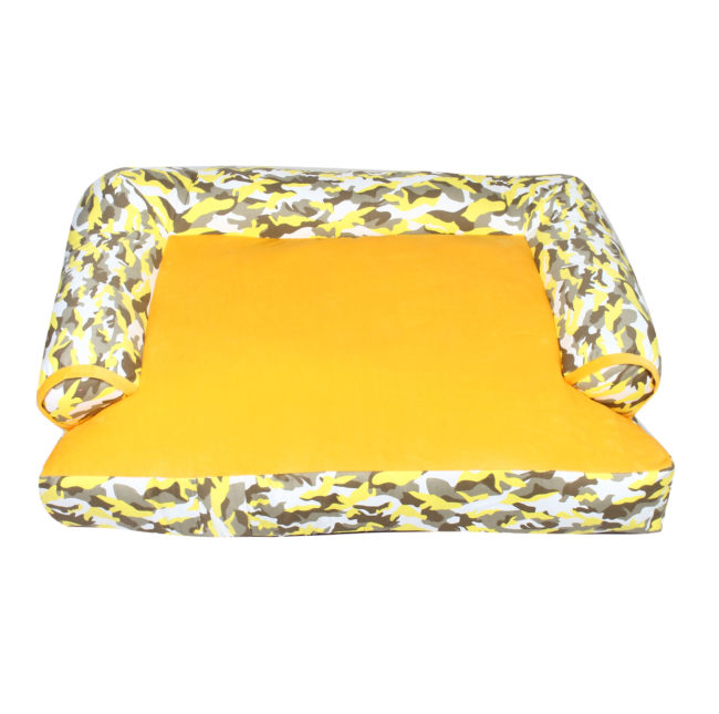 Douge couture dog/cat sofa bed army yellow print