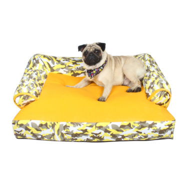 Dog Bed sofa army yellow print
