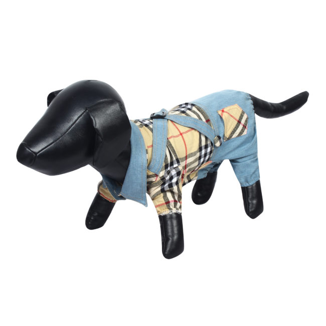 Douge couture cool Outfits beige Plaid Shirts Overalls Pants Pet Clothes for Dog Cat