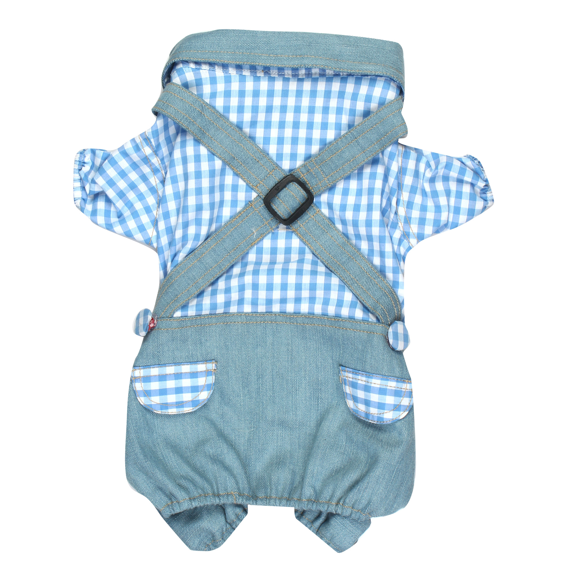 Douge couture cool Outfits blue white check Plaid Shirts Overalls Pants Pet Clothes for Dog Cat