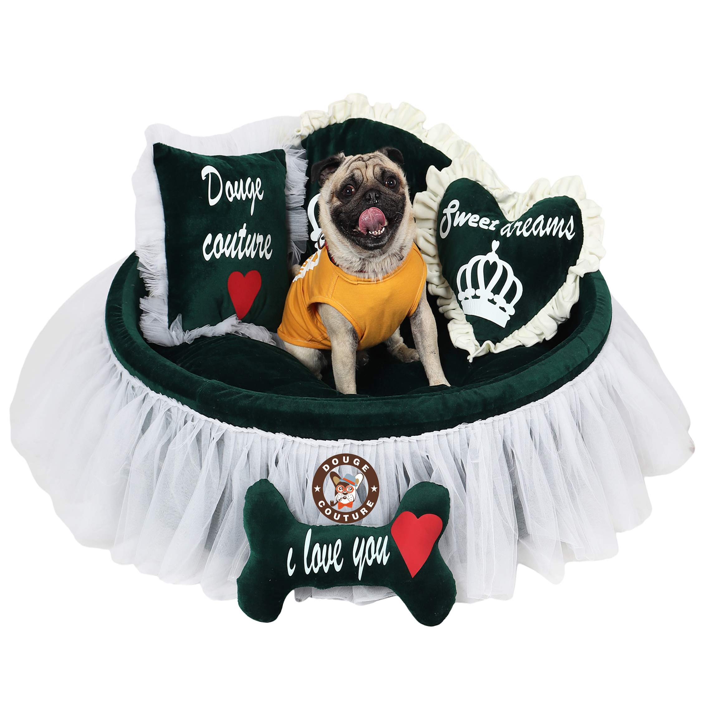 Douge Couture dog bed Luxury dog bed in dark turquoish green Personalized dog bed Large dog bed Custom made dog bed Personalized dog bed Toy for dog