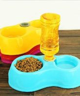 Douge couture Plastic Non Slip Pets Food Water Bowl Feeder with Automatic Water Bottle Set for Smal