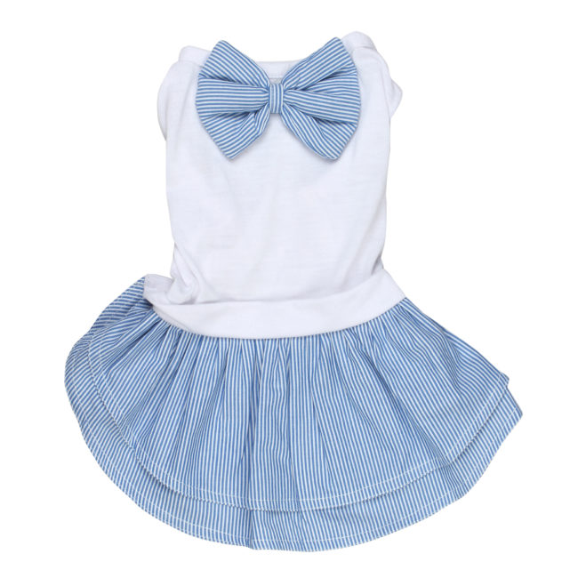 douge coutre female pet dog/cat dress blue stripe
