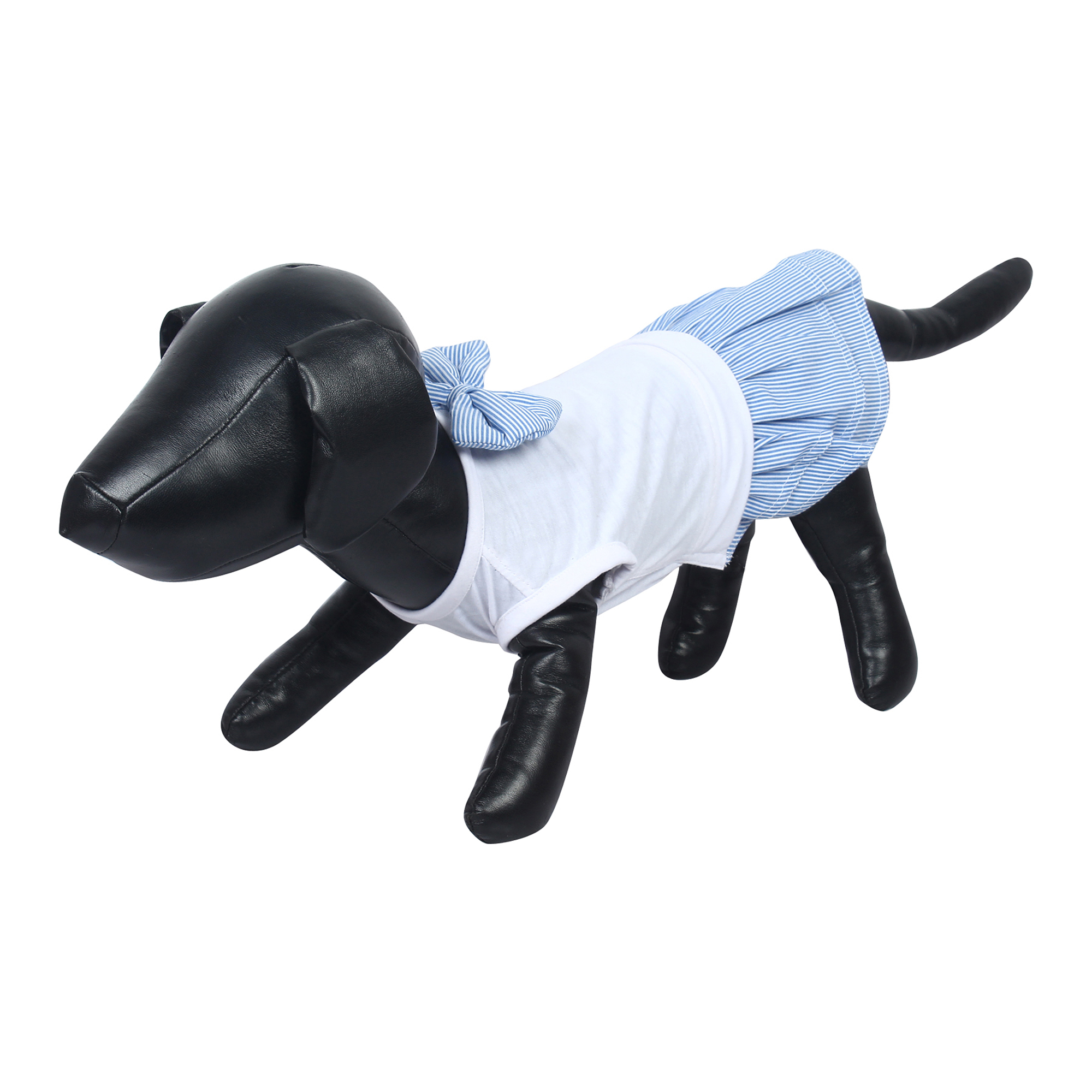 Dog Clothes female dog/cat dress blue stripe