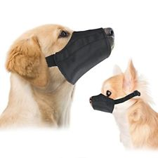 Douge couture Nylon Pet Adjustable Soft Muzzle Mask Dog Anti Barking Biting Grooming Chewing Mesh M