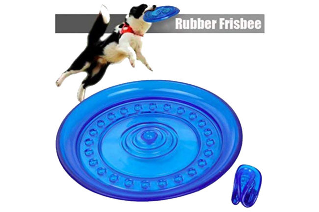 Douge couture Dog Rubber Flyer Flying Disc-Large (Blue)