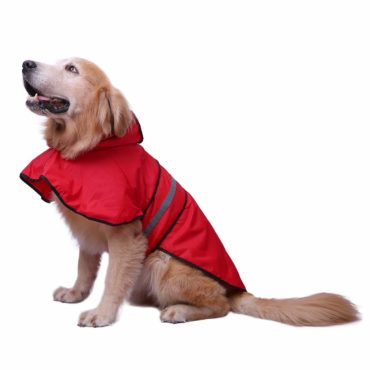 DOUGE COUTURE Dog Raincoat Hooded Slicker Poncho for Dogs and Puppies - Red 1