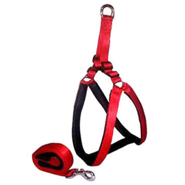 Douge couture Nylon with Padding Dog Harness (Medium, Red and Black 1 Inch)