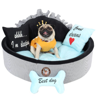 Douge Couture Black and sky blue prince dog bed Personalized dog bed Designer pet bed Cat bed Medium or small dog bed Black and blue dog bed Luxury bed 2