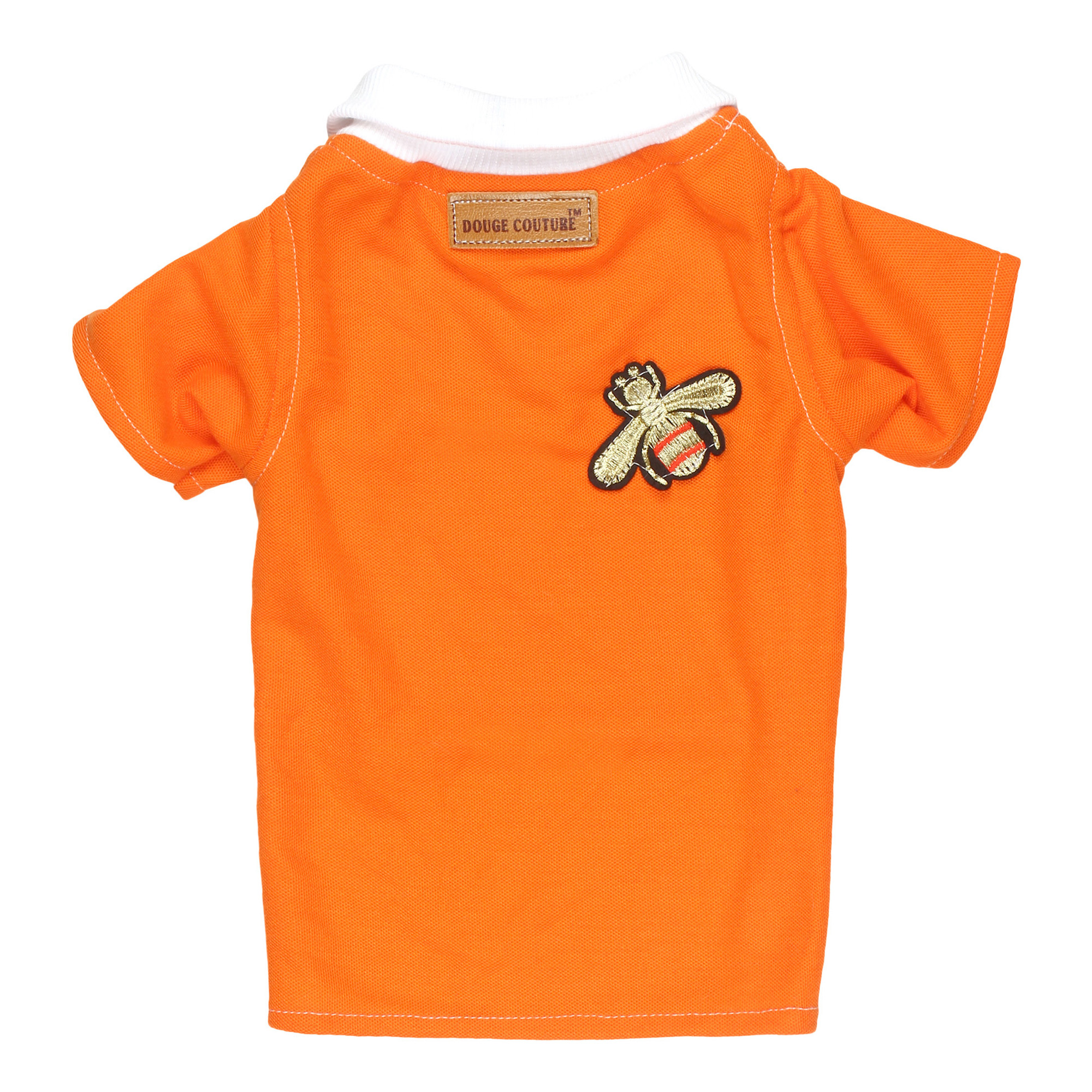 douge couture orange color polot-shirt with patch
