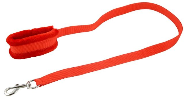Douge couture Nylon Red Fur .75 inch Small Dog Harness, Dog Collar & Leash (Chest Size : 26-30 inch