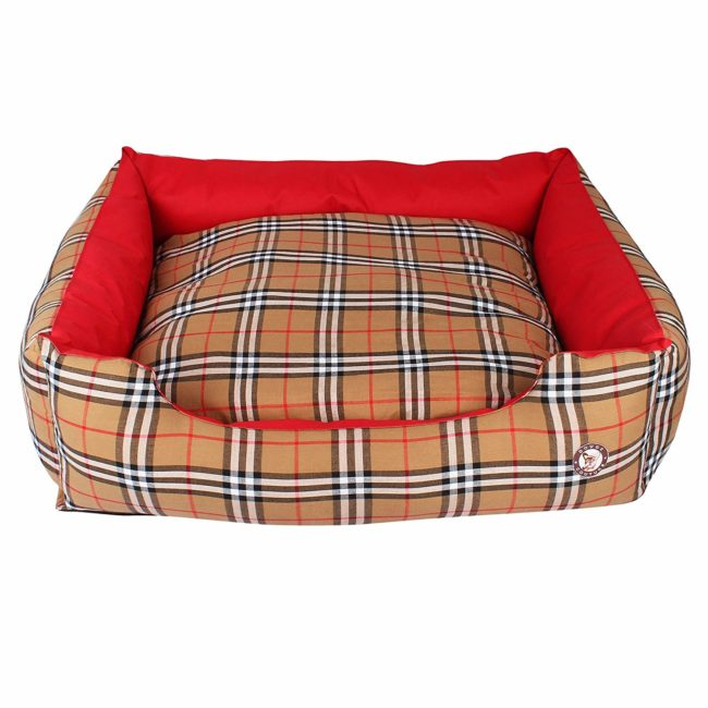 Douge Couture Smart Dog Reversible Bed (Red and Brown Check)