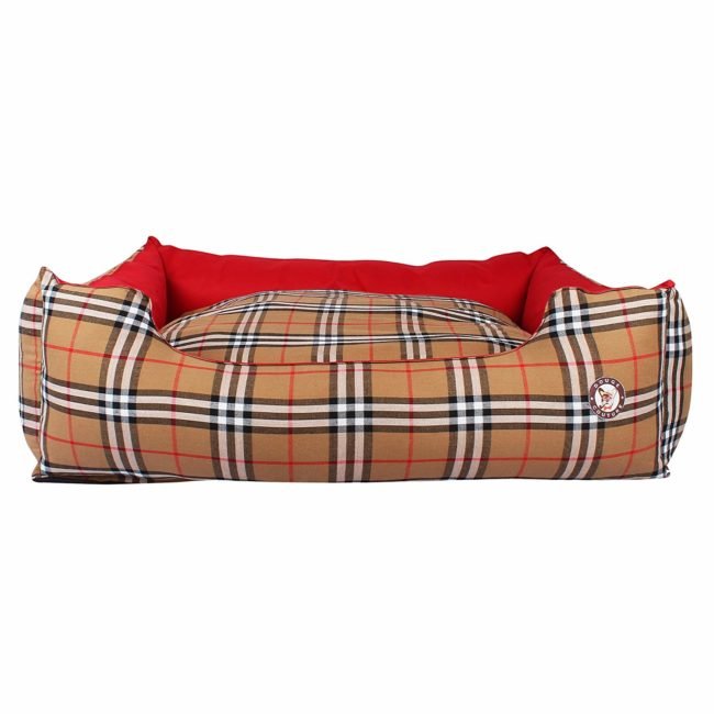 Dog Bed Smart Reversible Bed (Red and Brown Check)