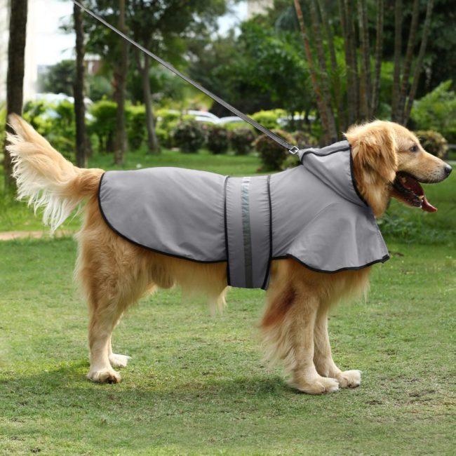 Dog Raincoat Hooded Slicker Poncho grey