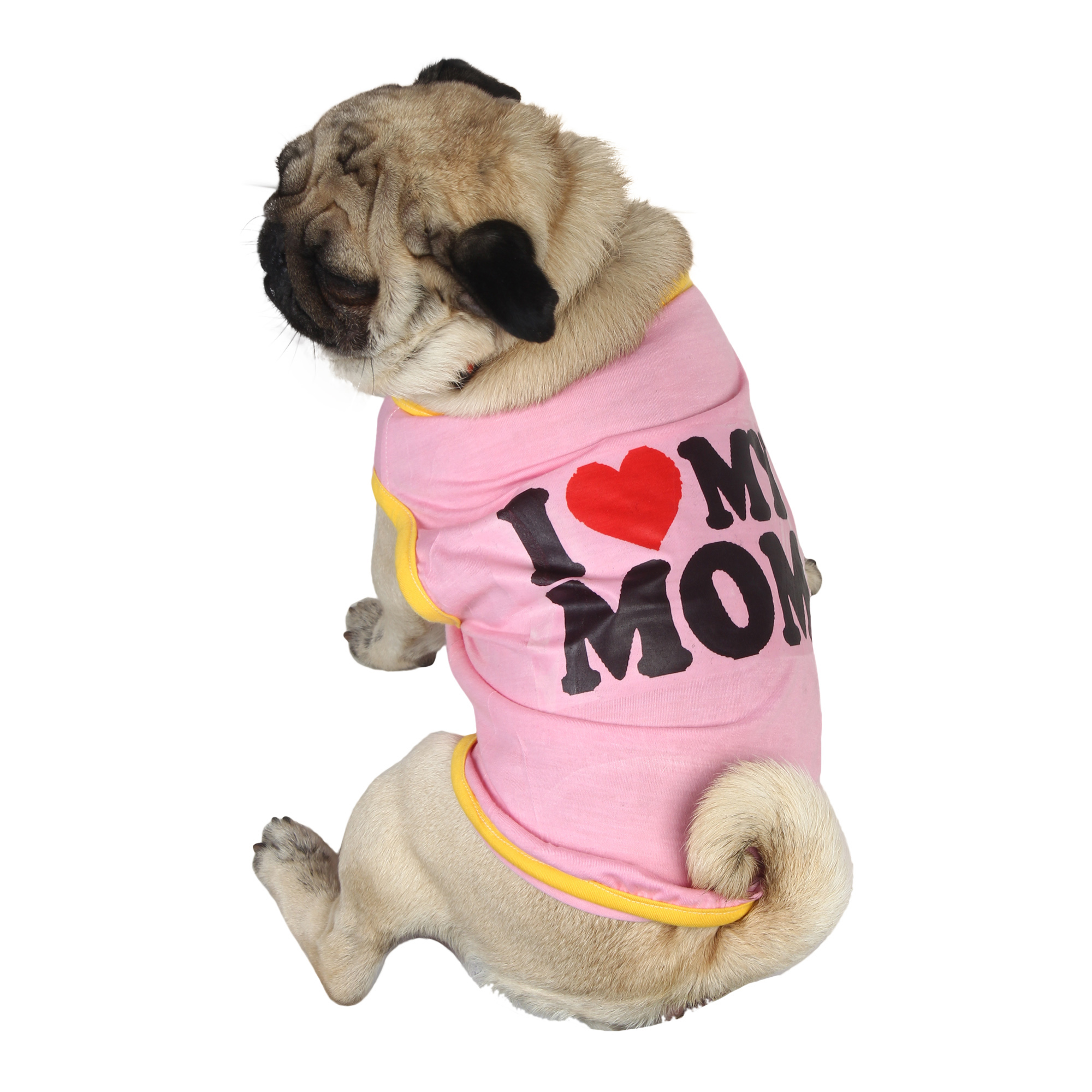 douge couture I Love MOM Dog pink T-Shirt